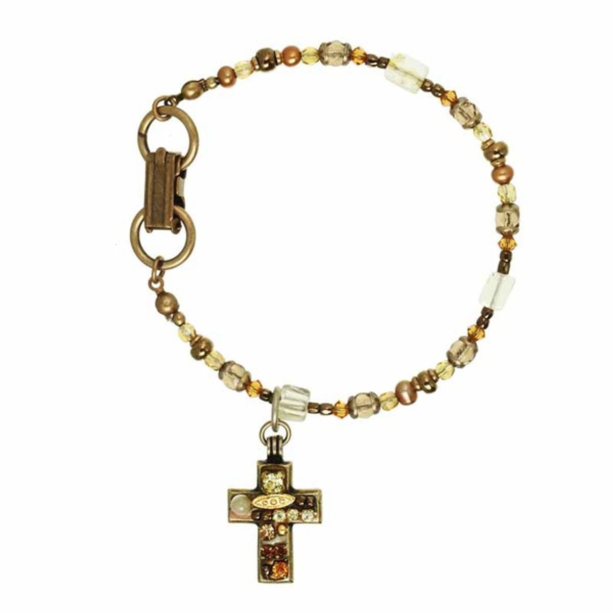 Beige Cross Bracelet by Michal Golan