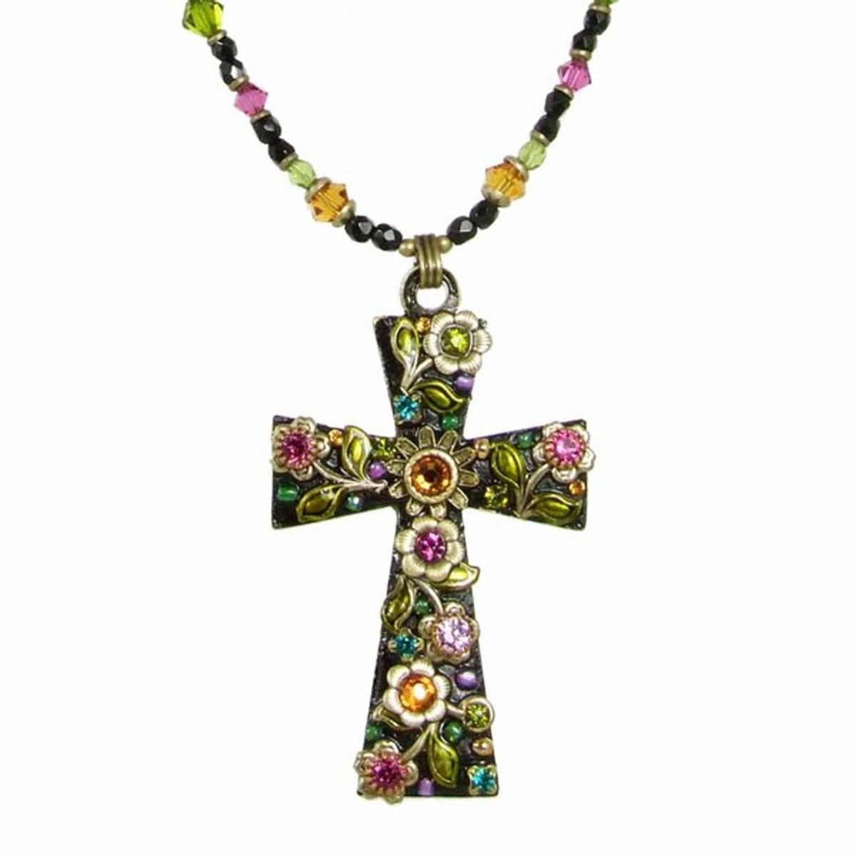 Large Dark Floral Cross Necklace
