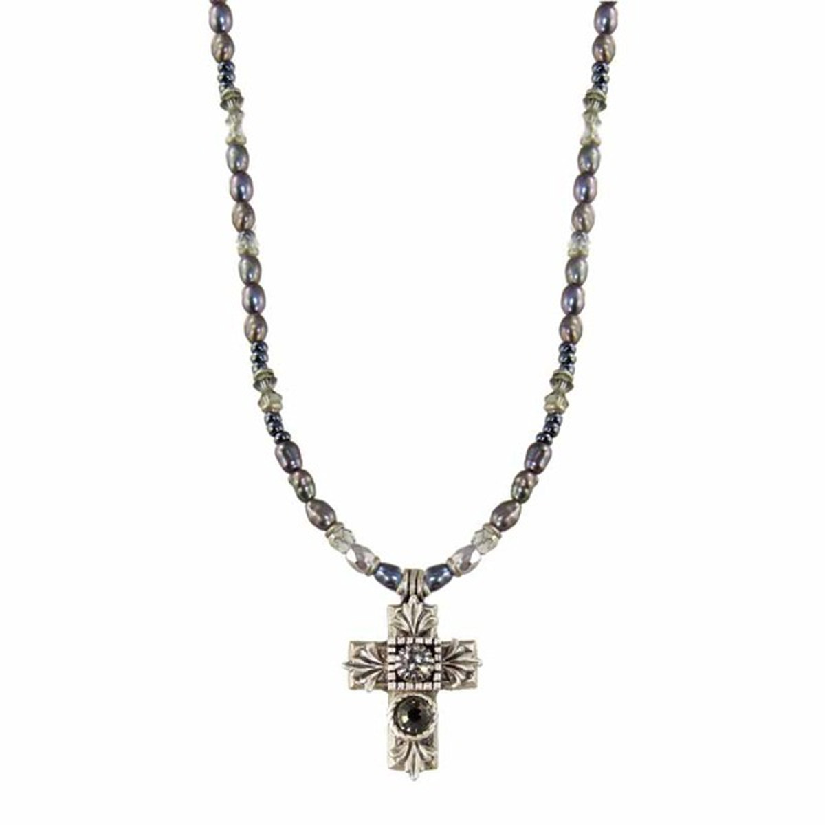 Michal Golan Pearl Chain Cross Necklace