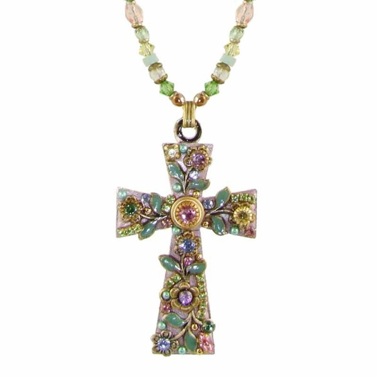 Michal Golan Pastel Floral Cross Necklace