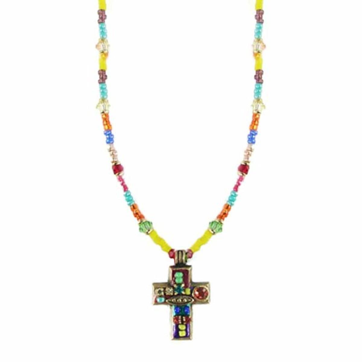 Michal Golan Small Multicolor Cross Necklace
