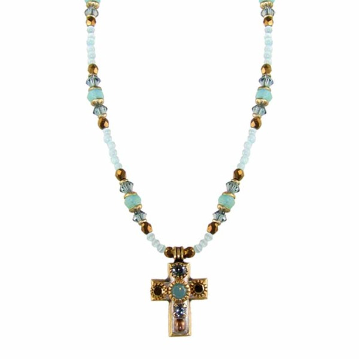 Light Blue and Gold Cross Necklace