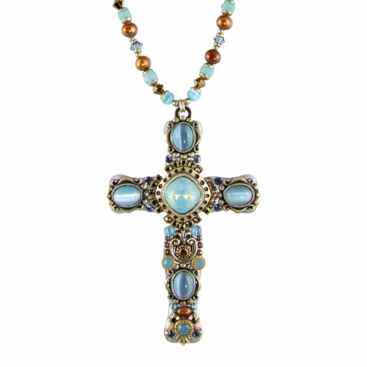 Sky Blue Cross Necklace