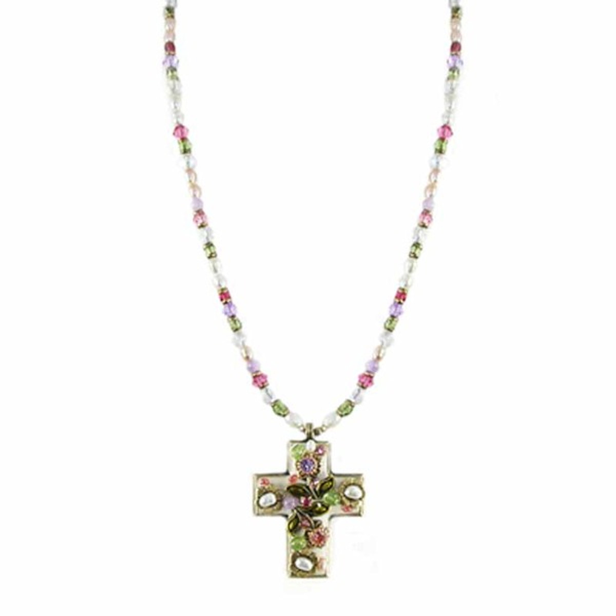 Small Flolar Cross Necklace