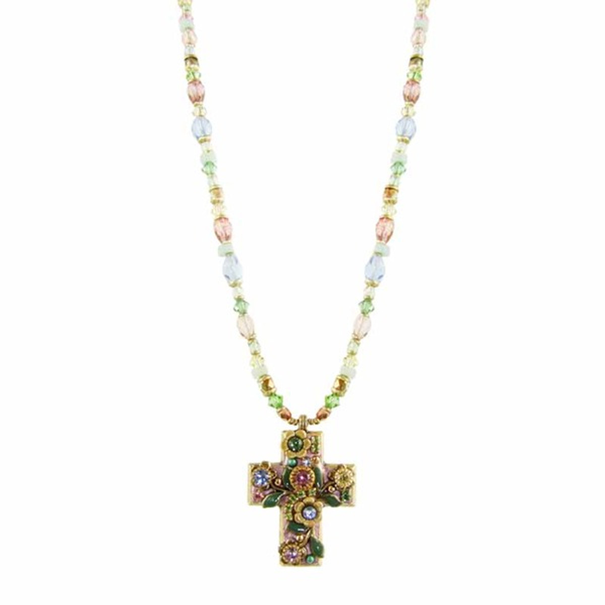 Small Rosy Garden Cross Necklace