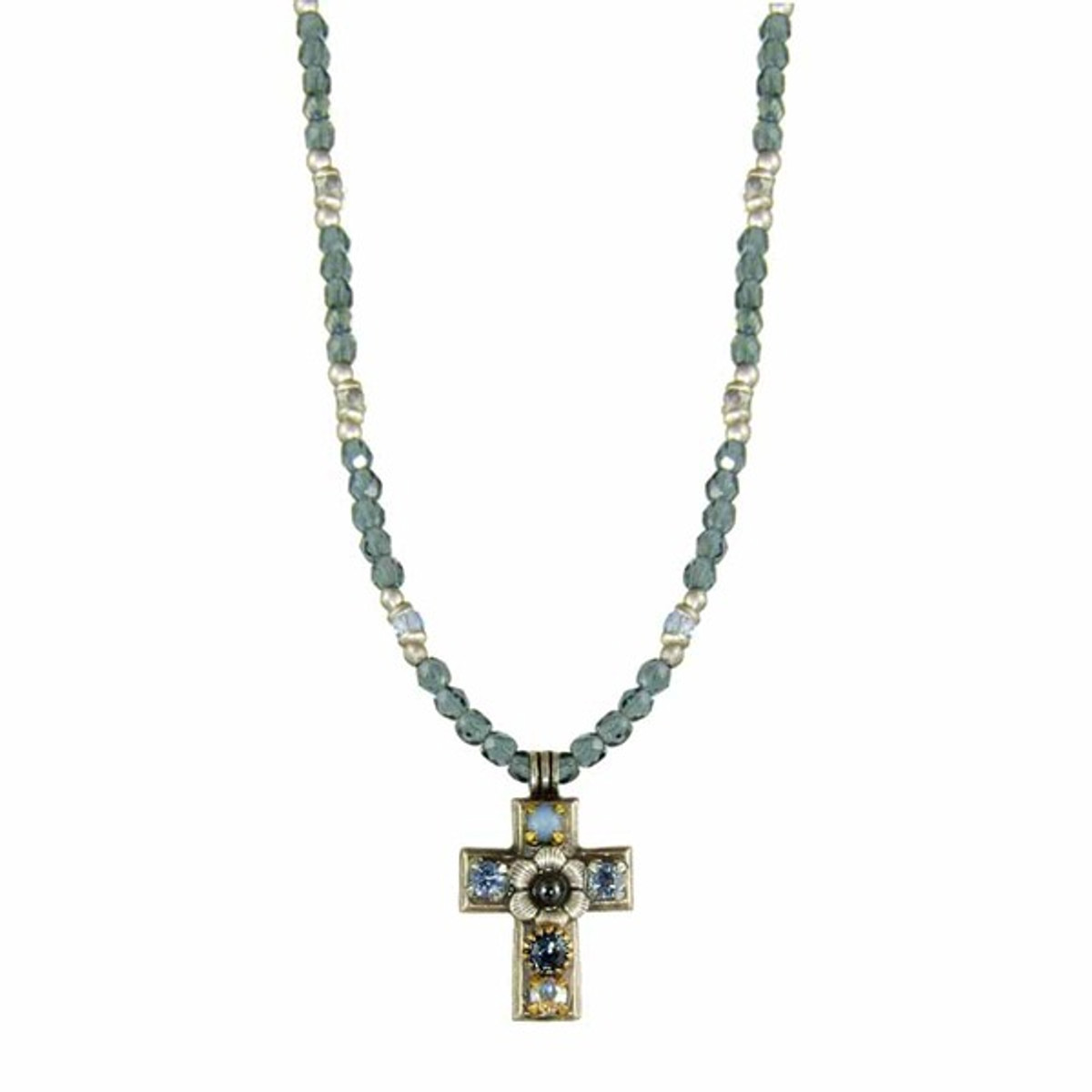 Small Blue Golan Cross Necklace