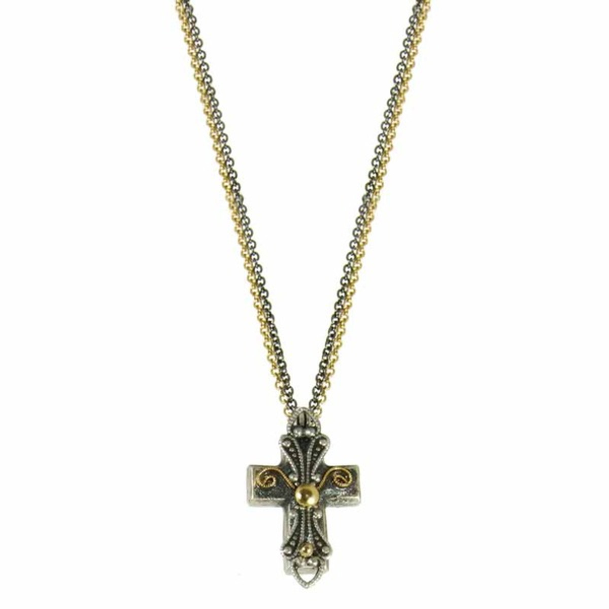 Gray And Gold Cross Necklace