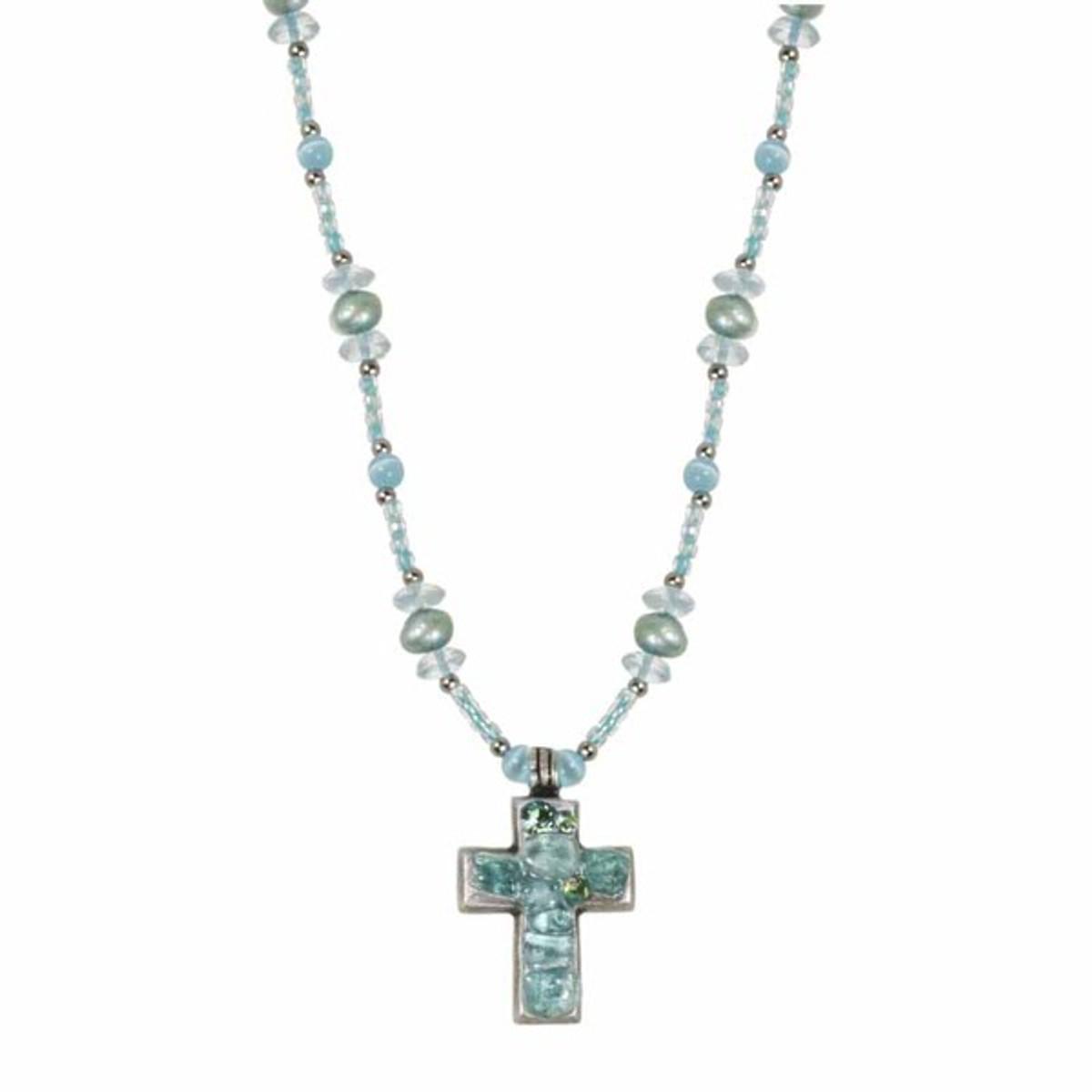 Small Aqua Cross Necklace