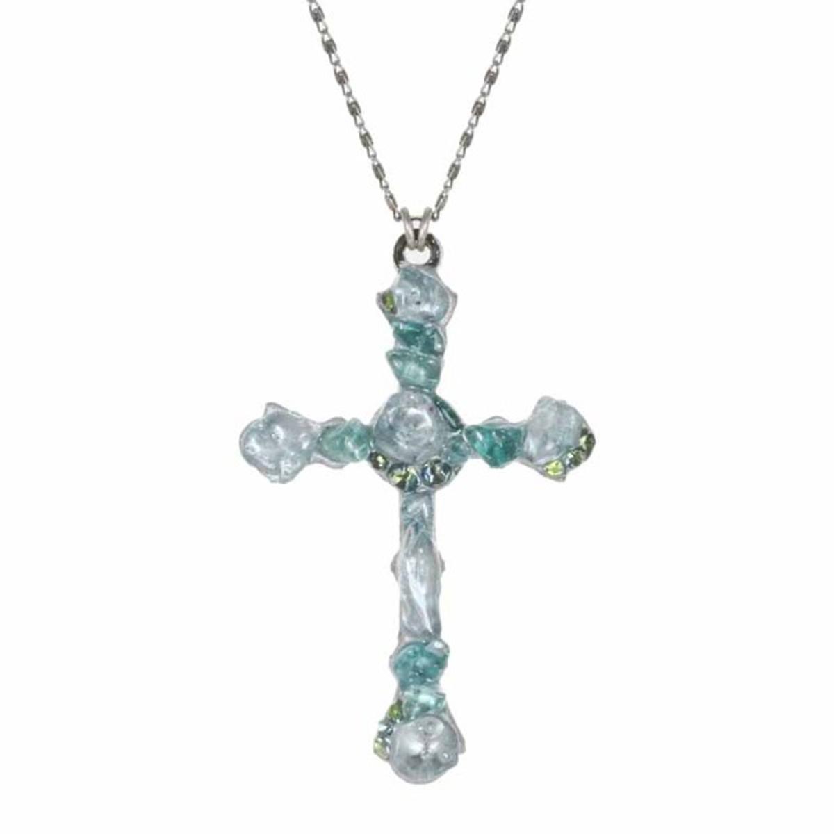 Large Aqua Cross Necklace