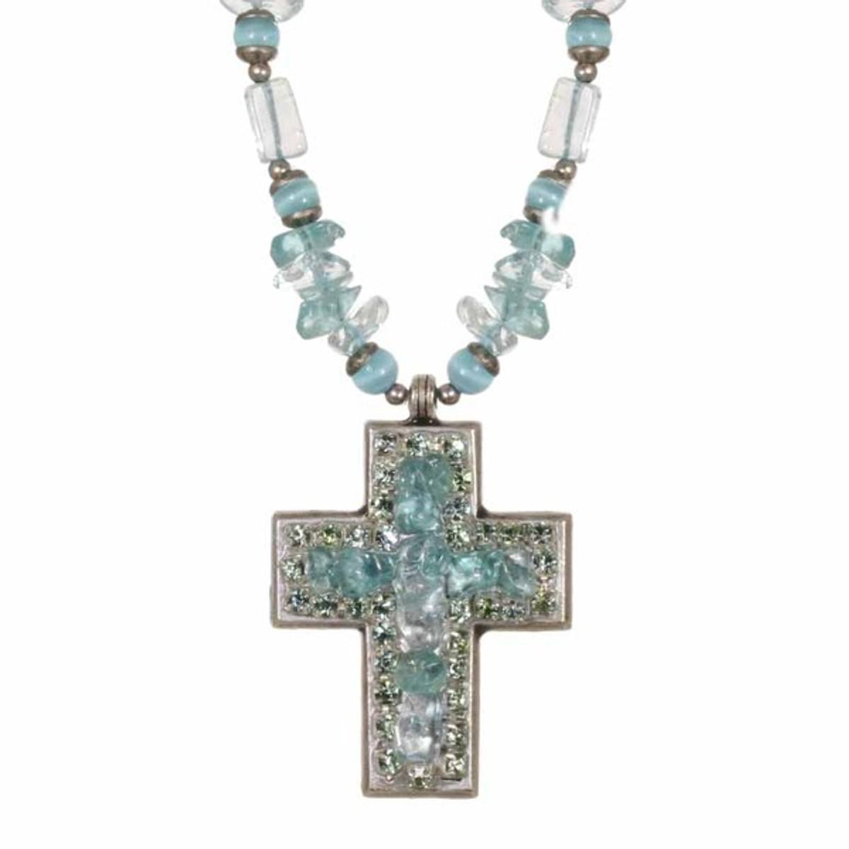Medium Aqua Cross Necklace