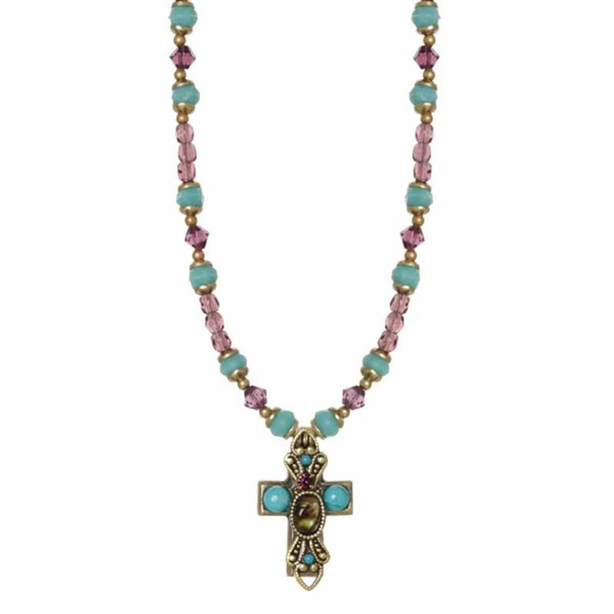 Small Golan Cross On Beaded Necklace