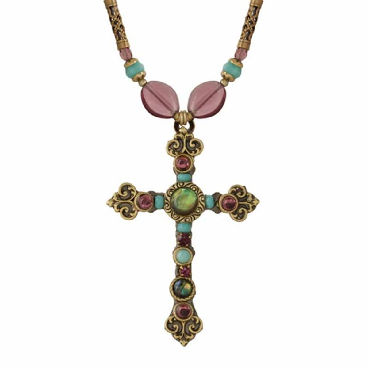 Large Michal Golan Cross On Beaded Necklace