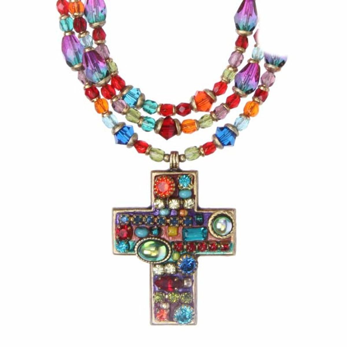 Michal Golan Cross Multibright Necklace