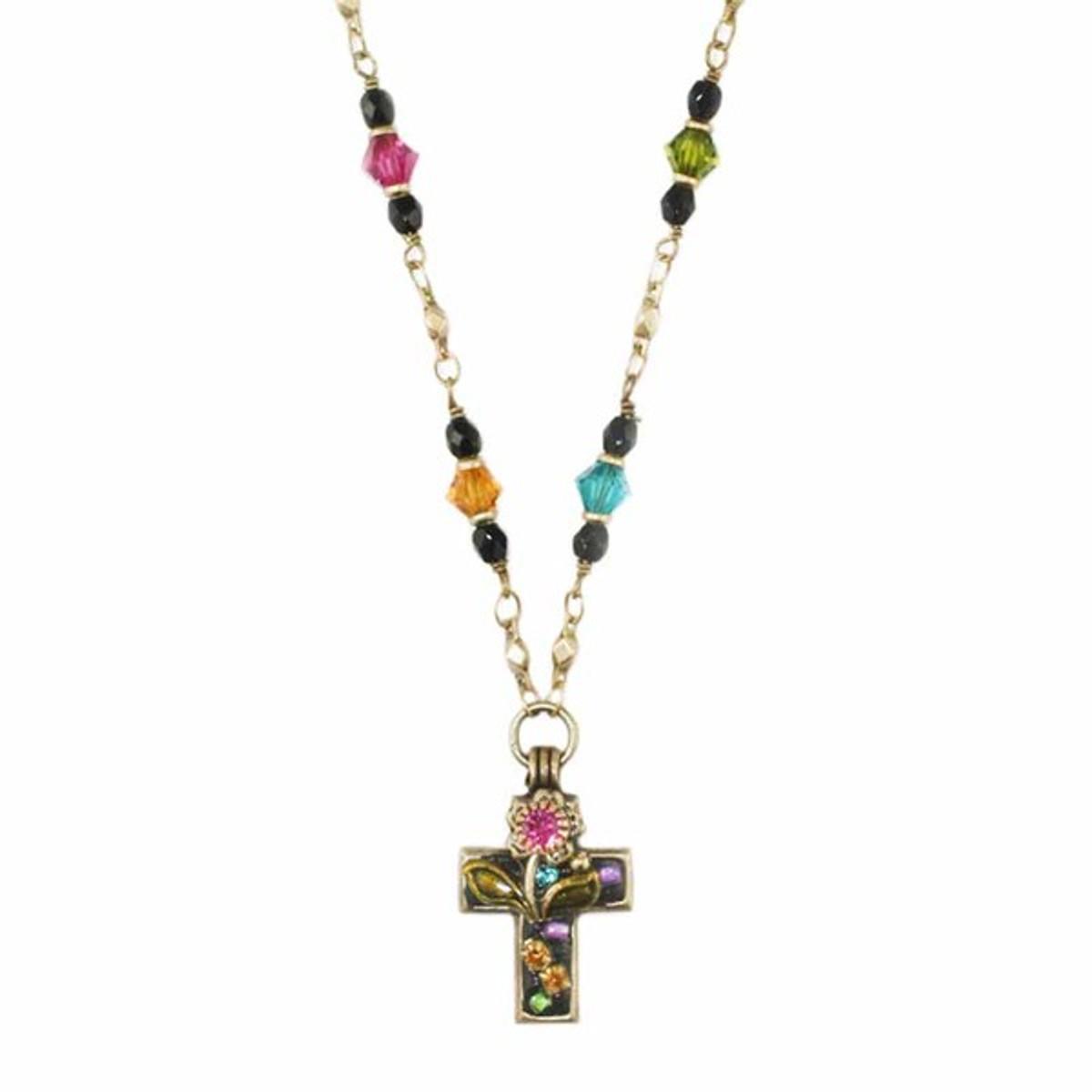 Night Garden Cross Necklace