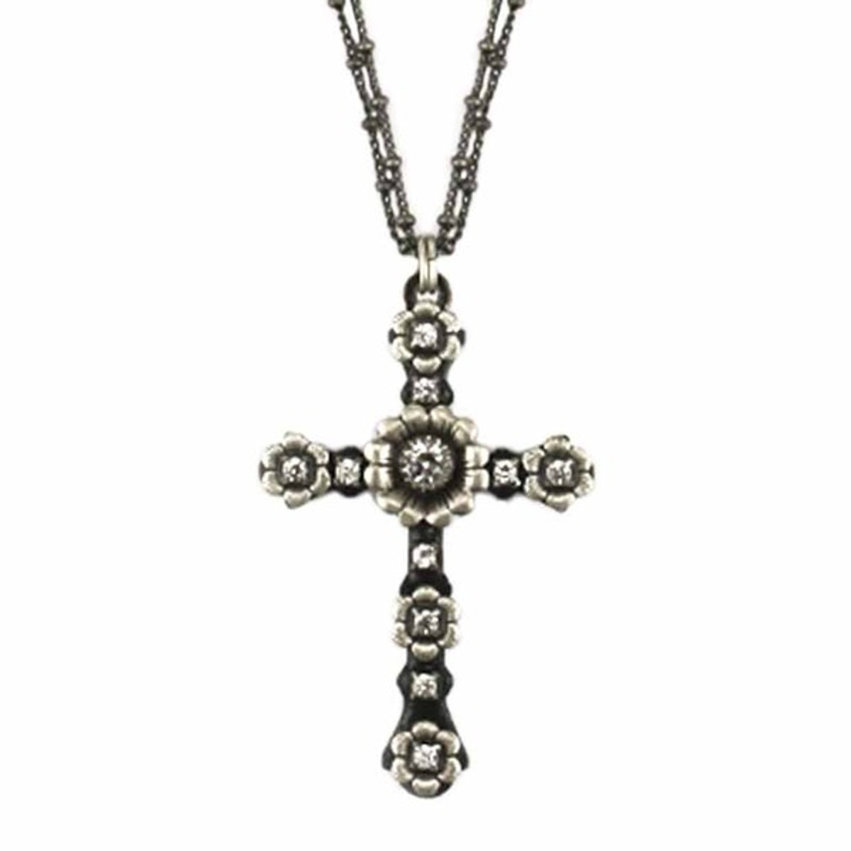 Black Floral Cross Necklace