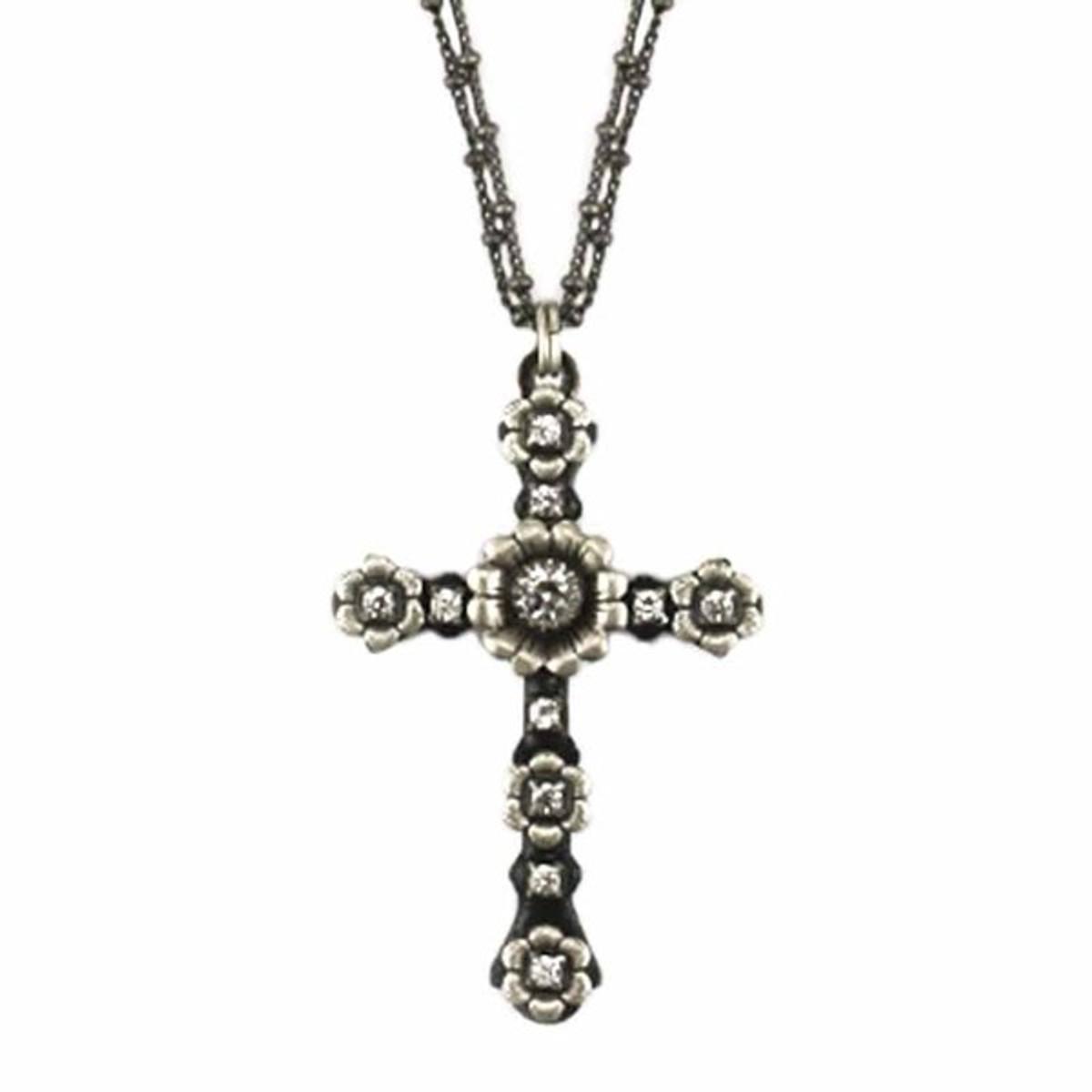 Black Floral Cross Necklace