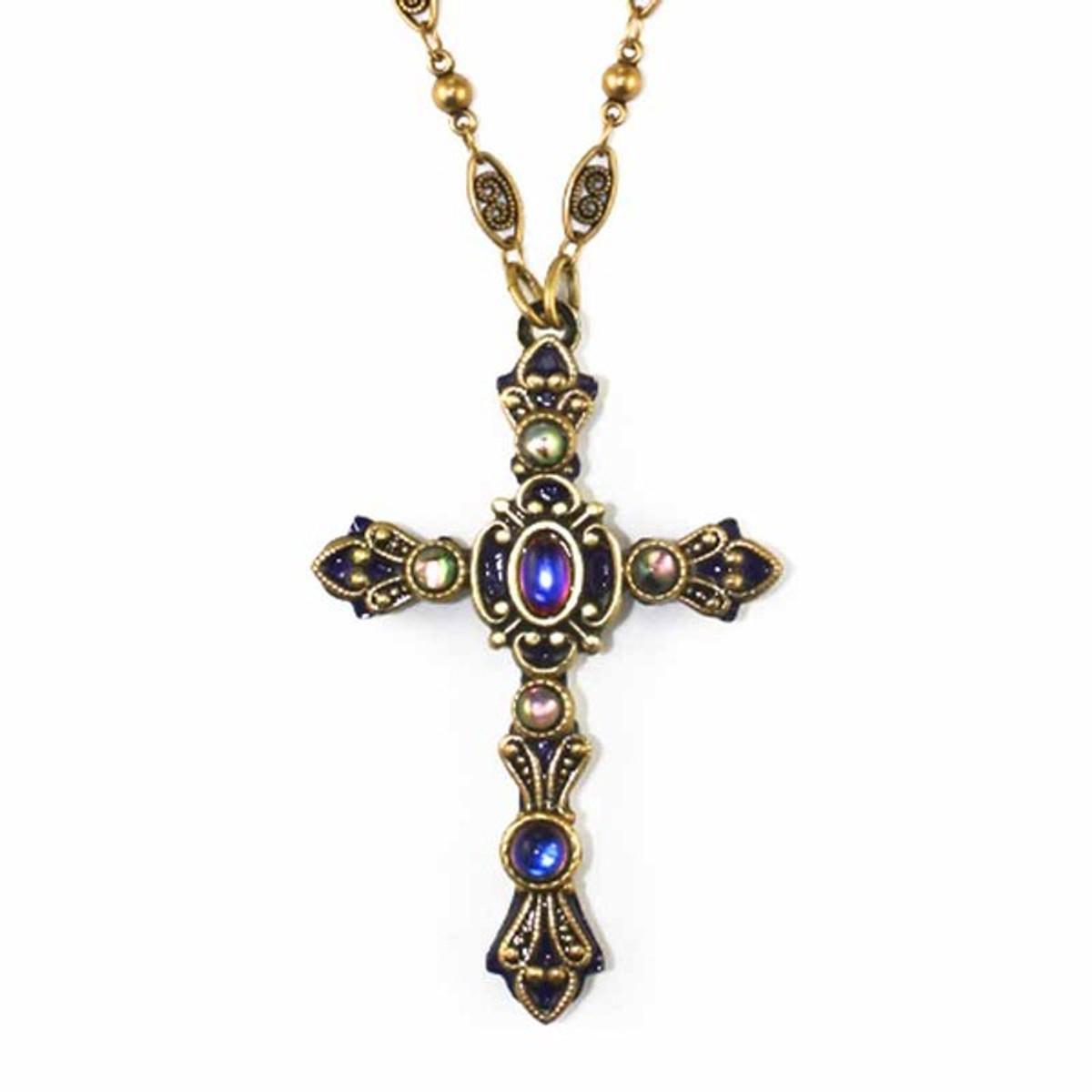 Michal Golan Cobochons Cross Necklace