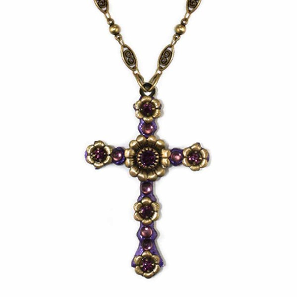Michal Golan Large Purple Cross Necklace