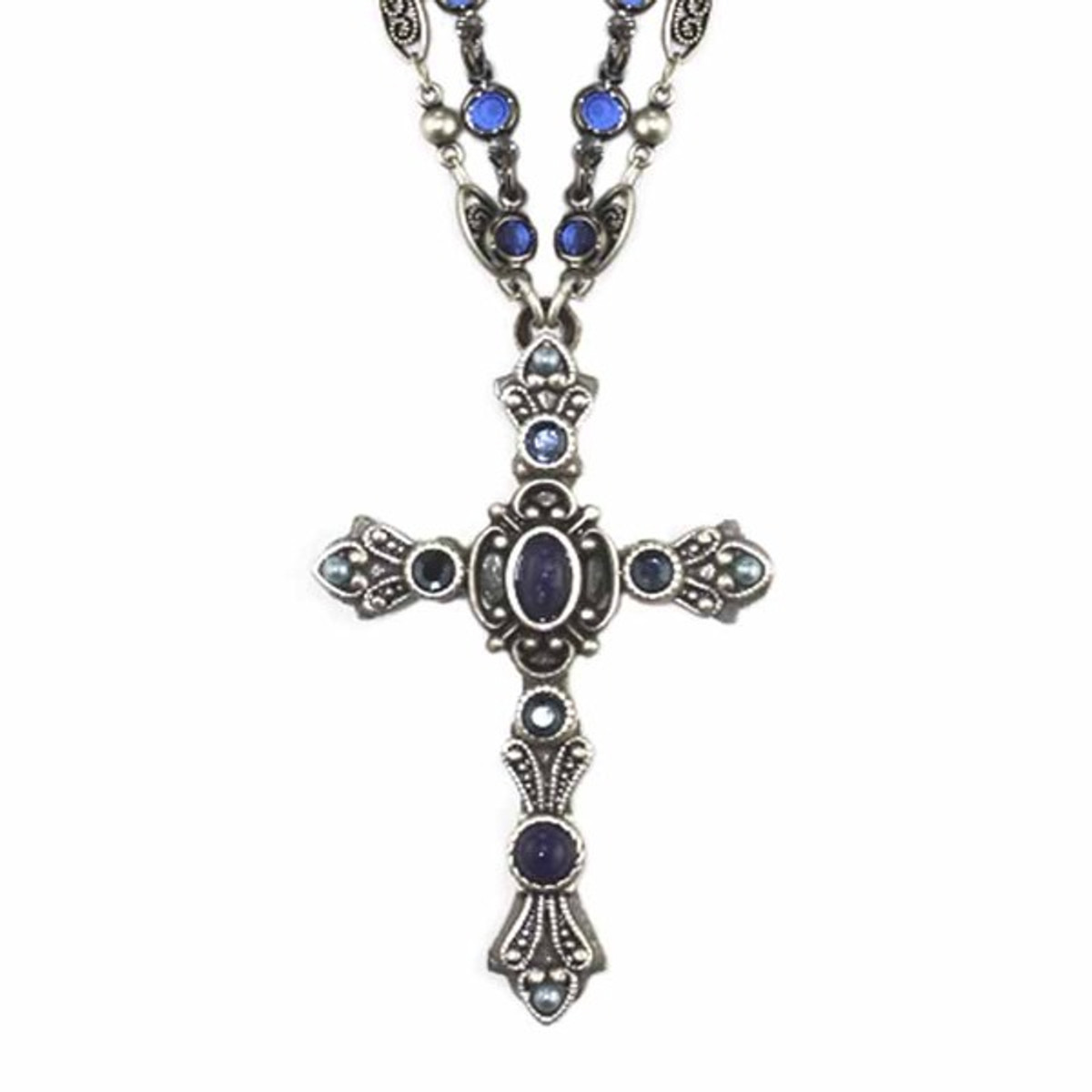 Michal Golan Blue and Gold Cross Necklace