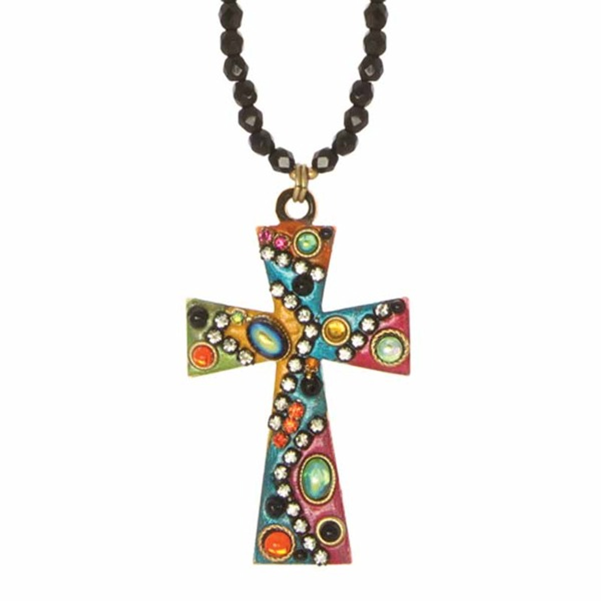 Small Sky Crystals Cross Necklace