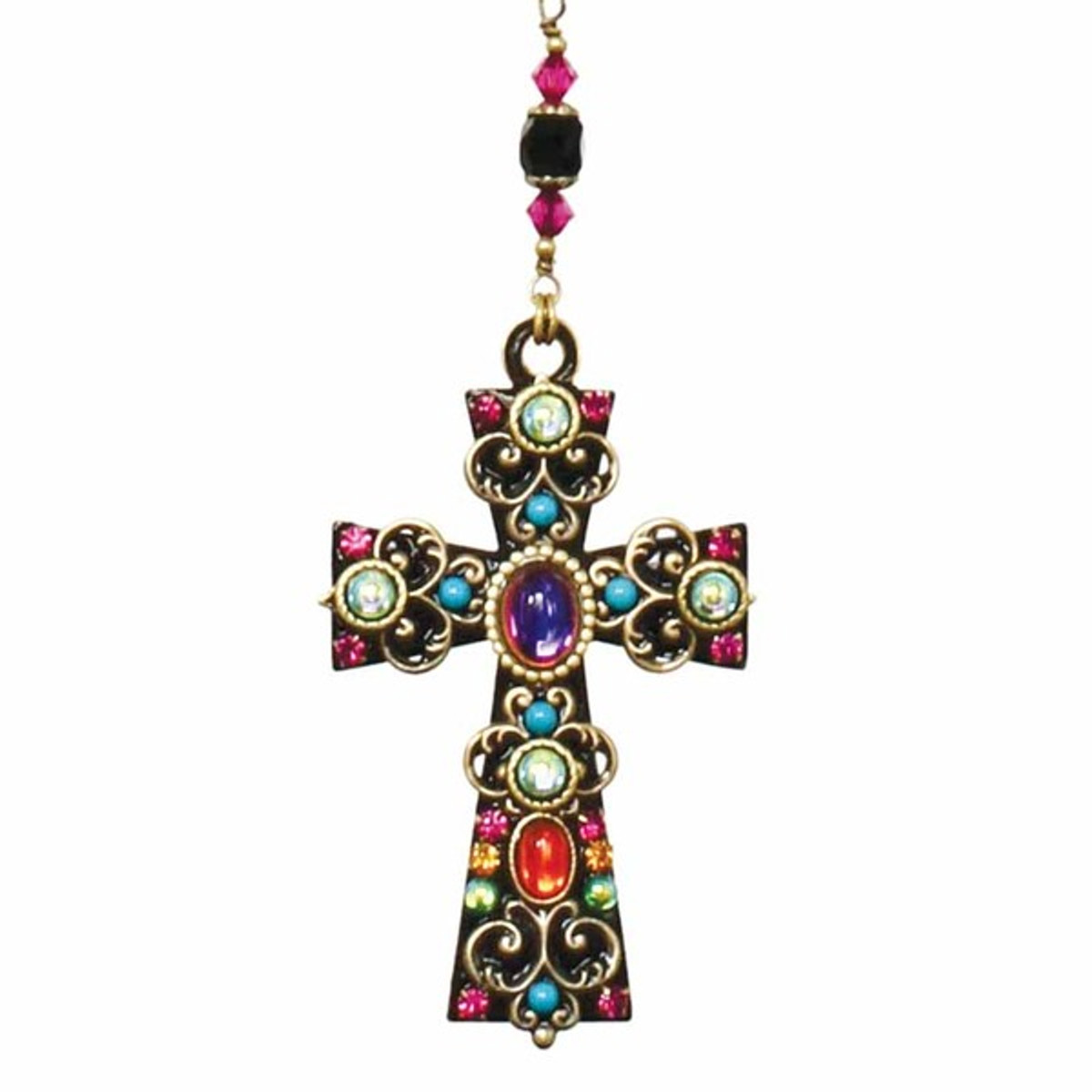 Multi Crystal Cross Necklace