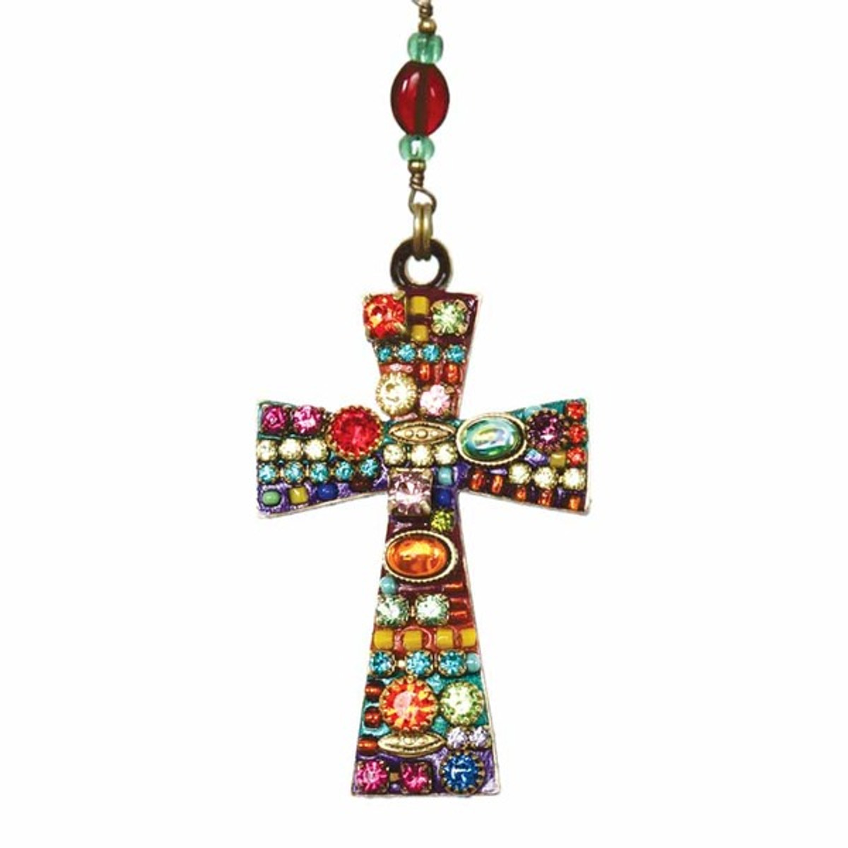 Large Multibright Cross Necklace