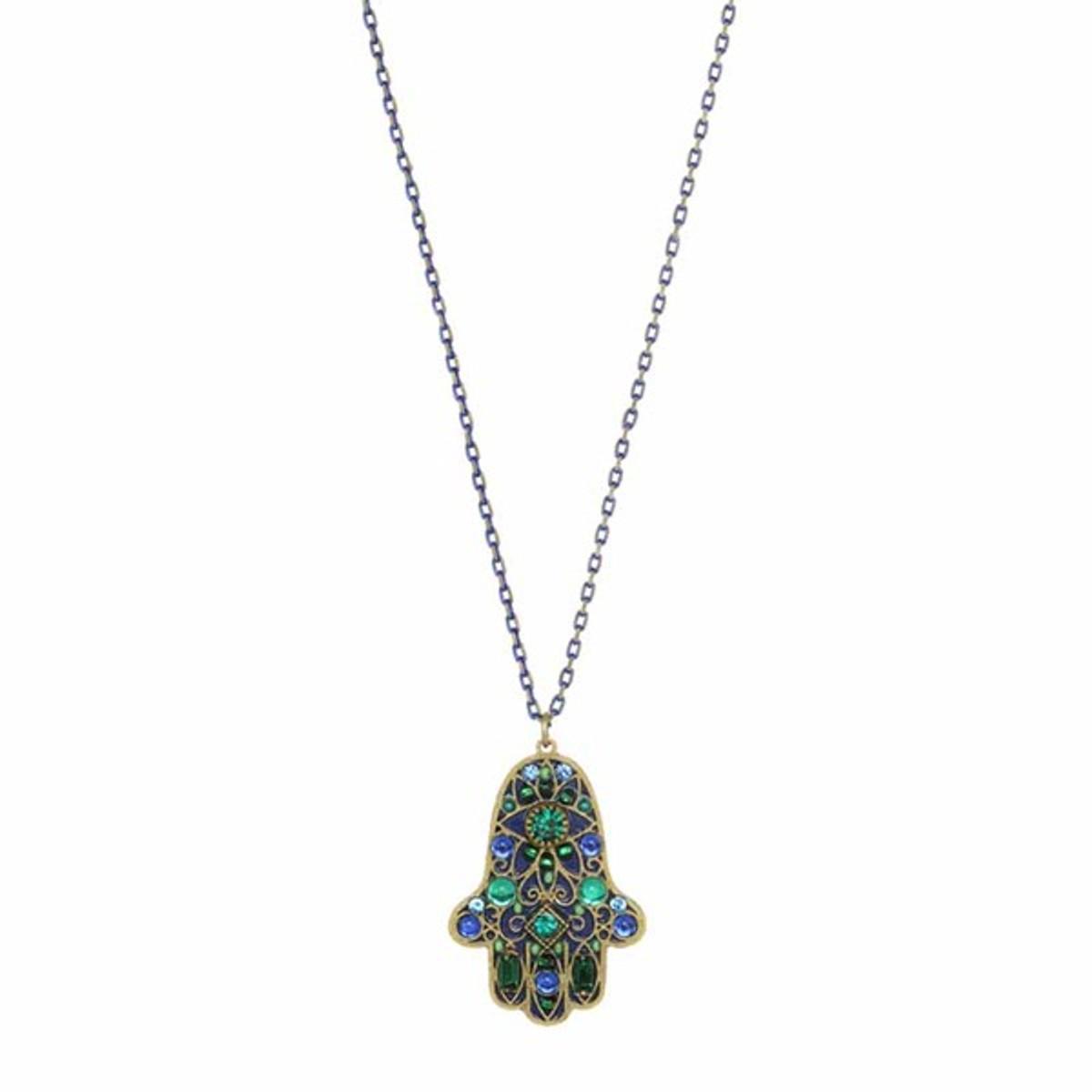 Green Hamsa Necklace on Single Chain