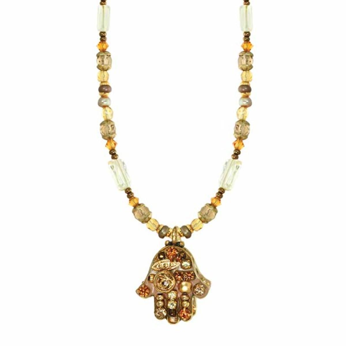 Beuige Hamsa Necklace on Beaded Chain