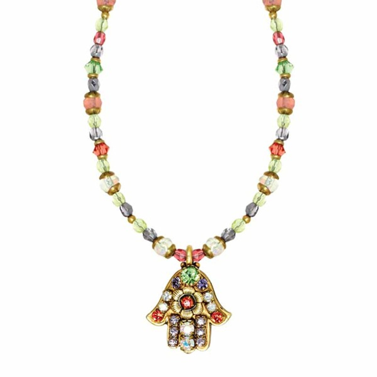 Small Floral Hamsa On Beaded Chain