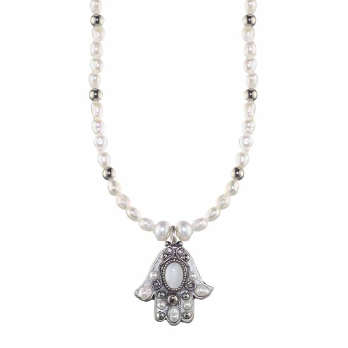 Small Silver Pearl Hamsa