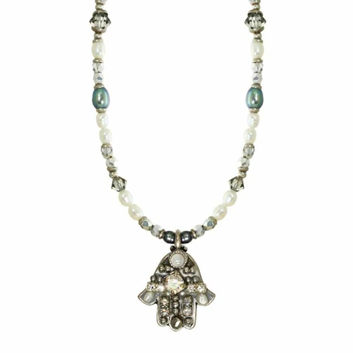 Michal Golan Beaded Chain Silver Hamsa