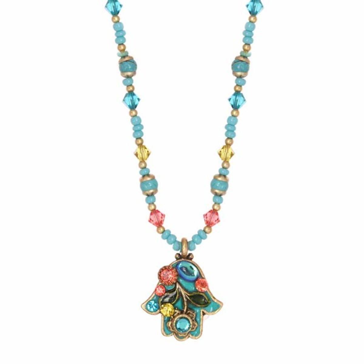 Small Teal And Pink Floral Hamsa