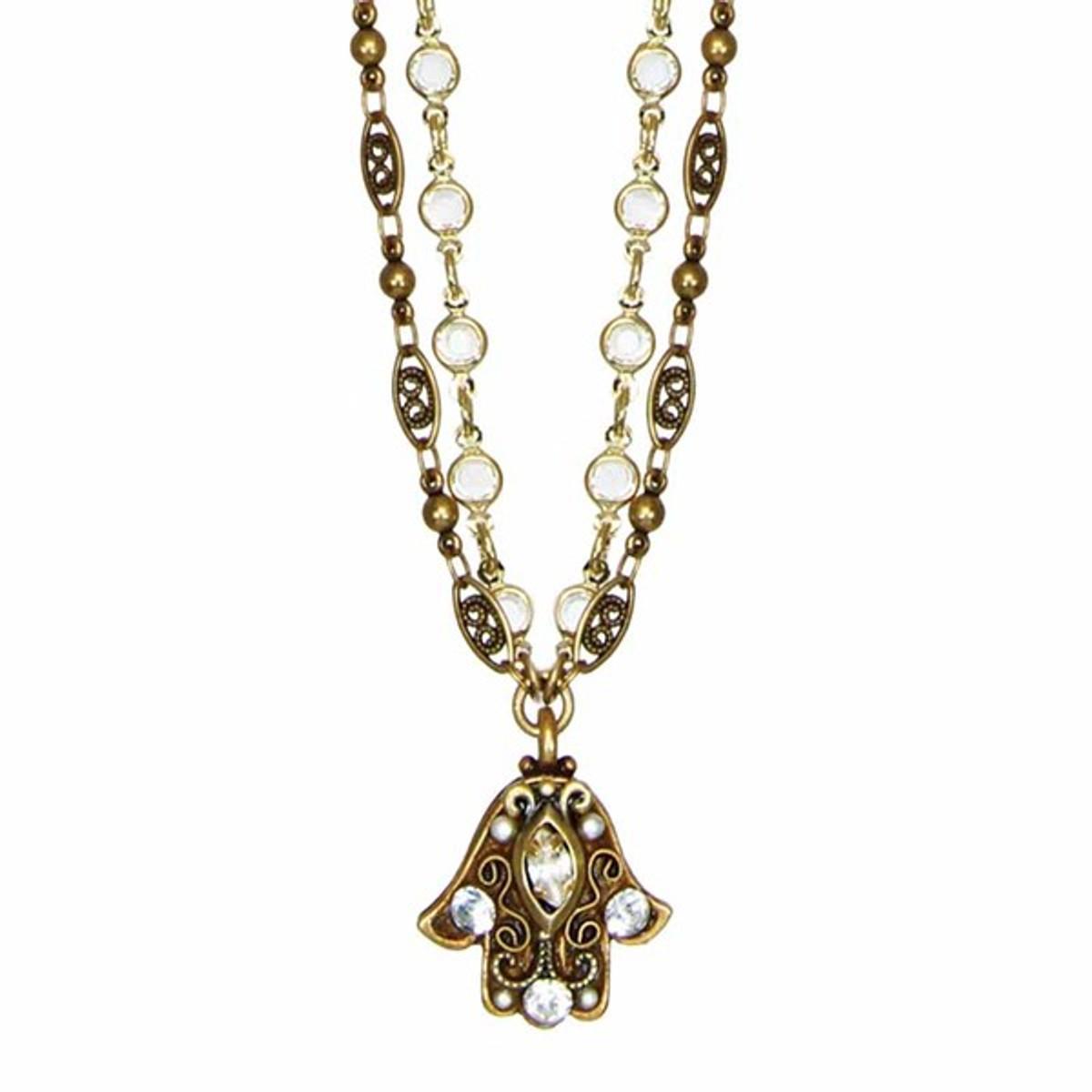 Hamsa Necklace w/ Small Crystal