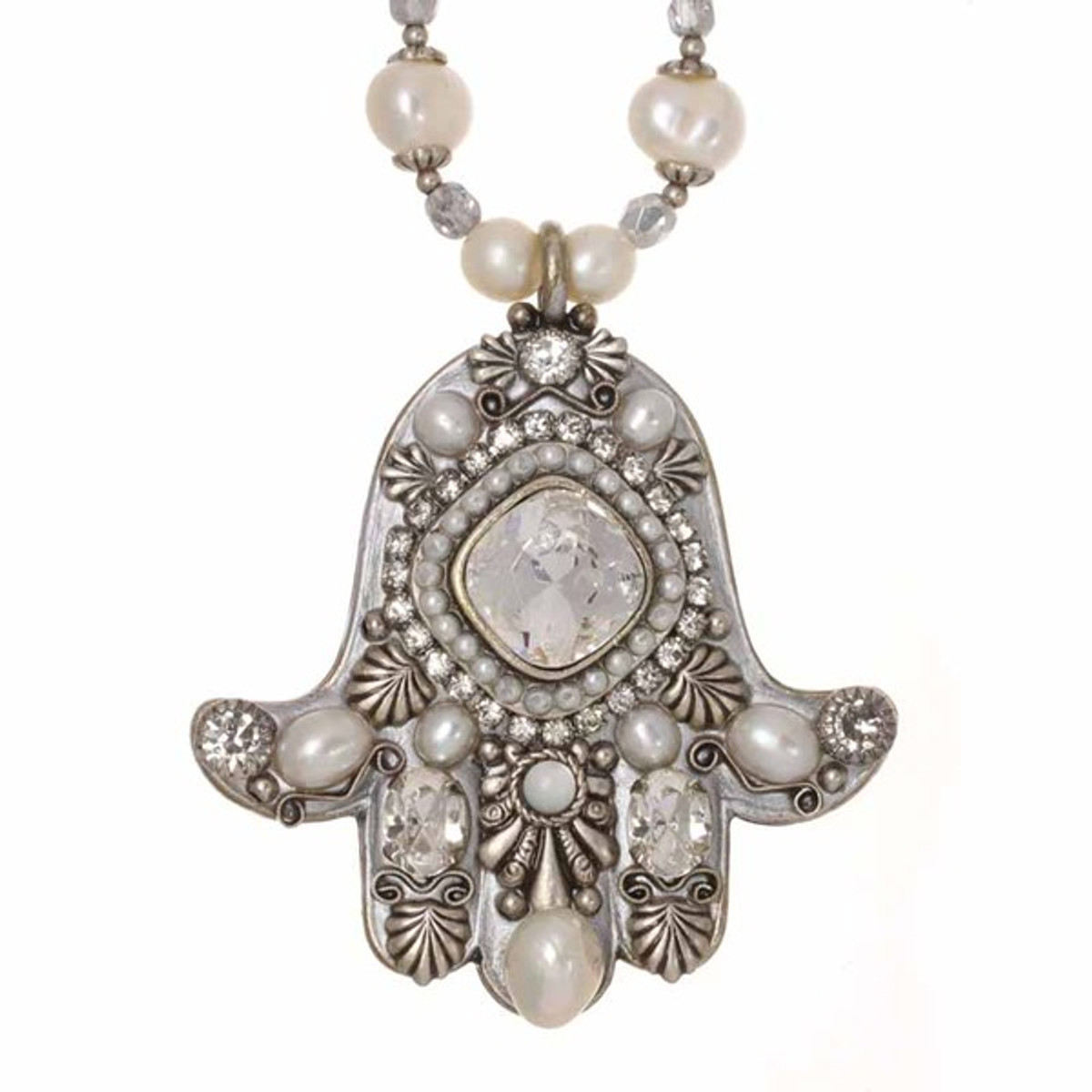 Large Pearl And Crystal Hamsa Necklace