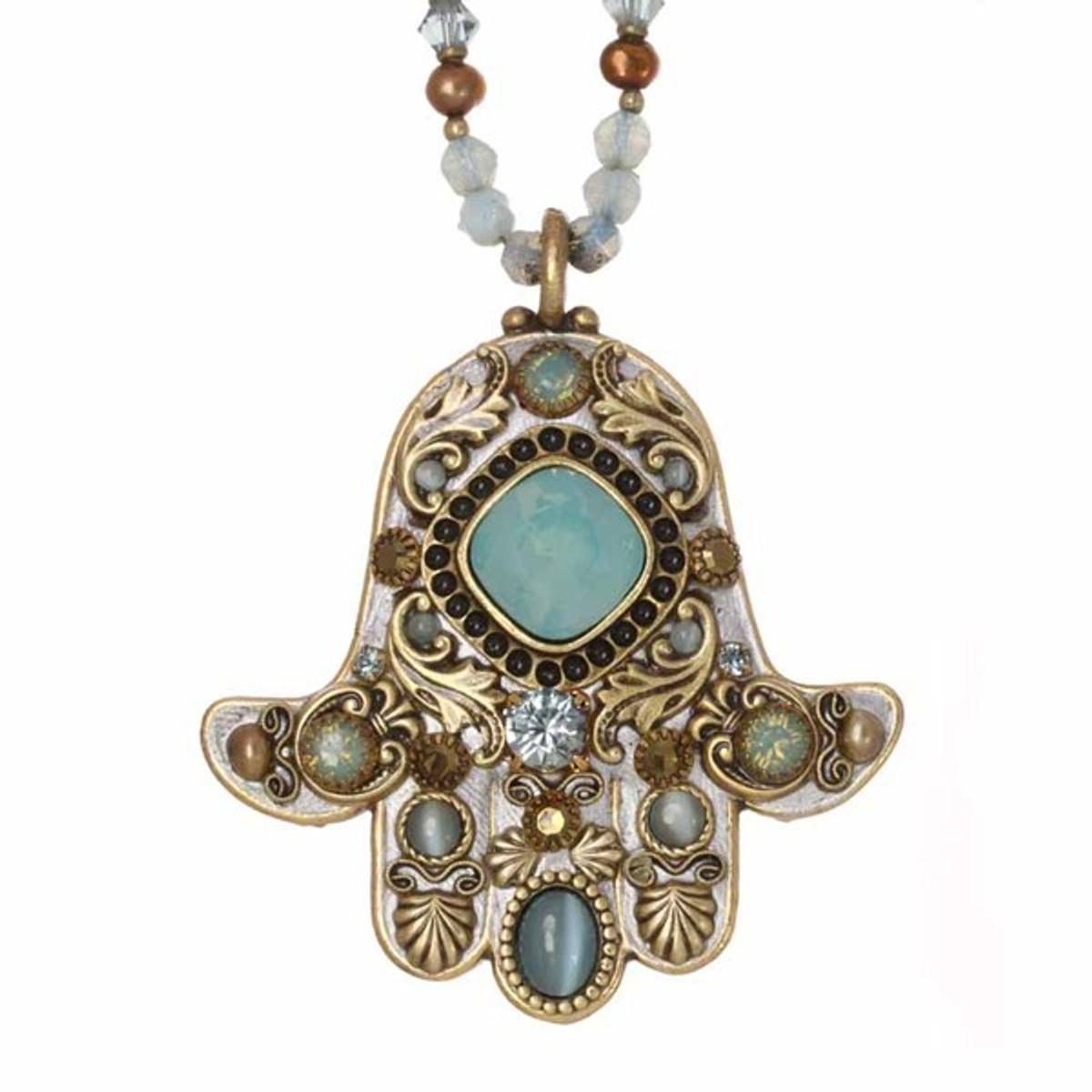 Green Michal Golan Jewelry Hamsa Necklace
