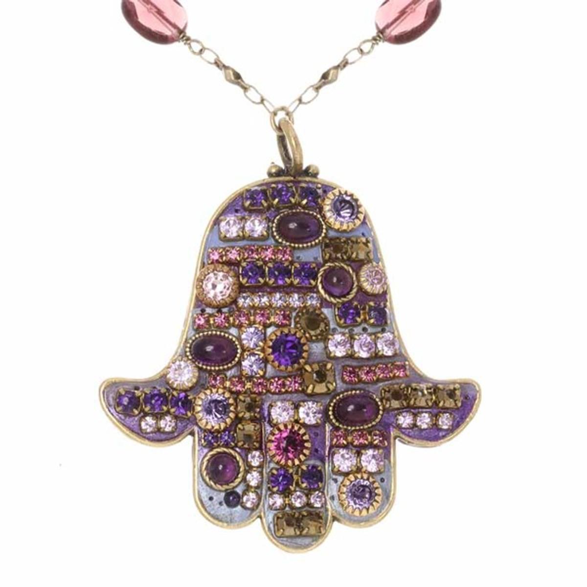 Multiple Purple Hamsa Necklace