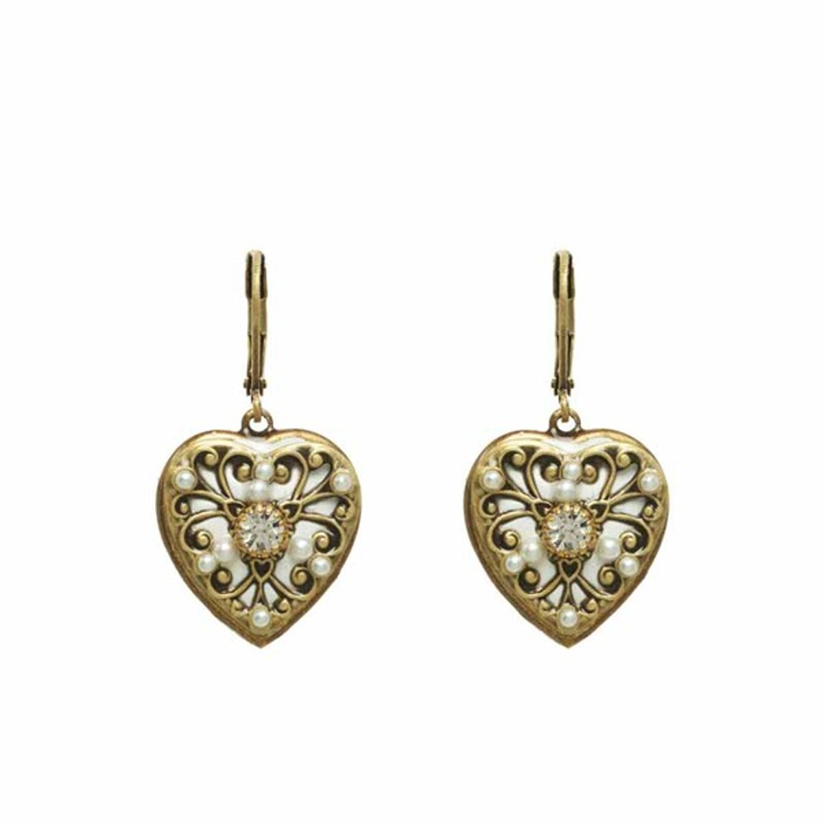 White Michal Golan Jewelry Heart Earrings