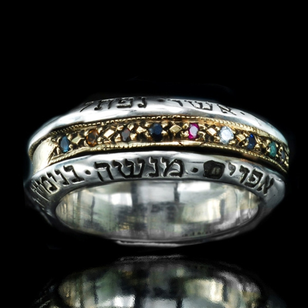 12 Tribes Hoshen Ring -Gold & Silver Spinner Ring by HaAri