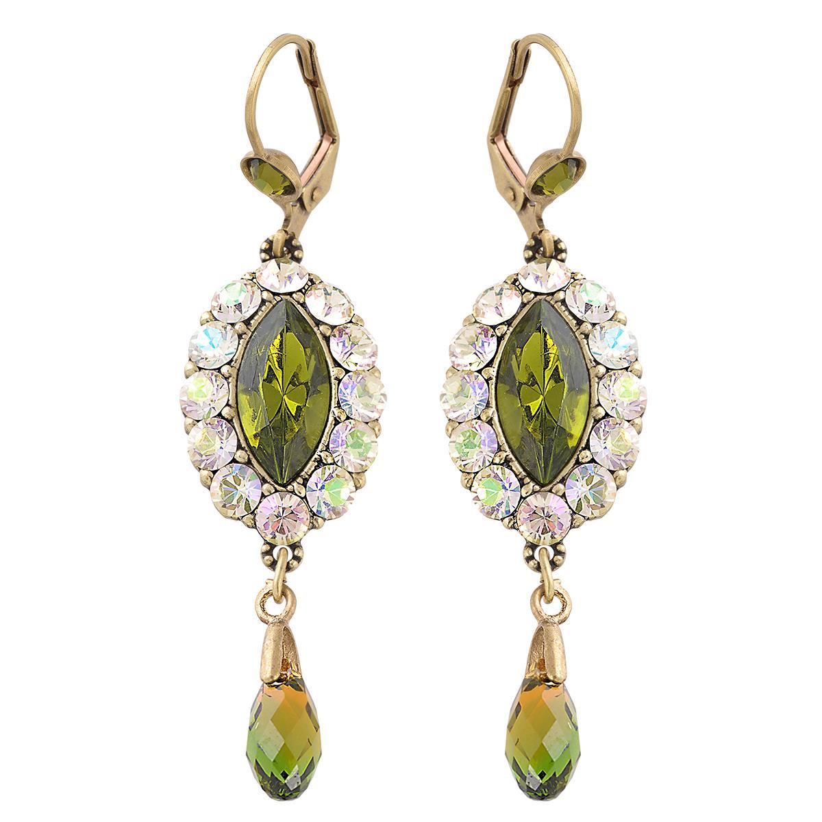 Michal Negrin Green Oval Earrings