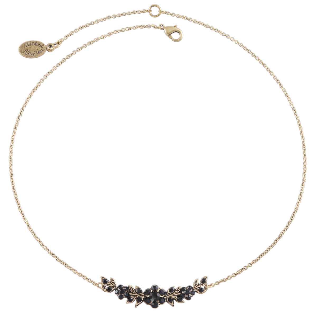 Michal Negrin Black Roses Necklace
