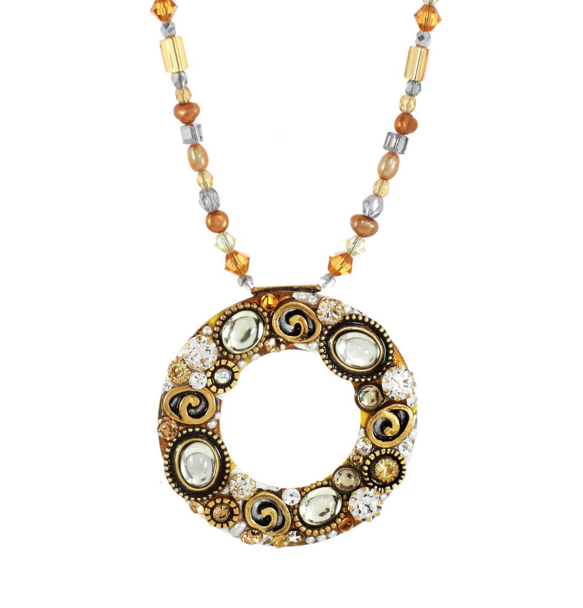 Michal Golan Earth Orange Large Open Circle Necklace