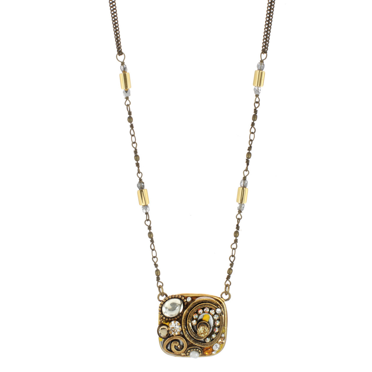 Orange Michal Golan Jewelry Medium Square Necklace