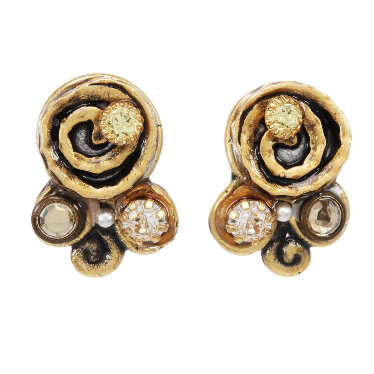 Michal Golan Earth Orange Three Stone Swirl Earrings