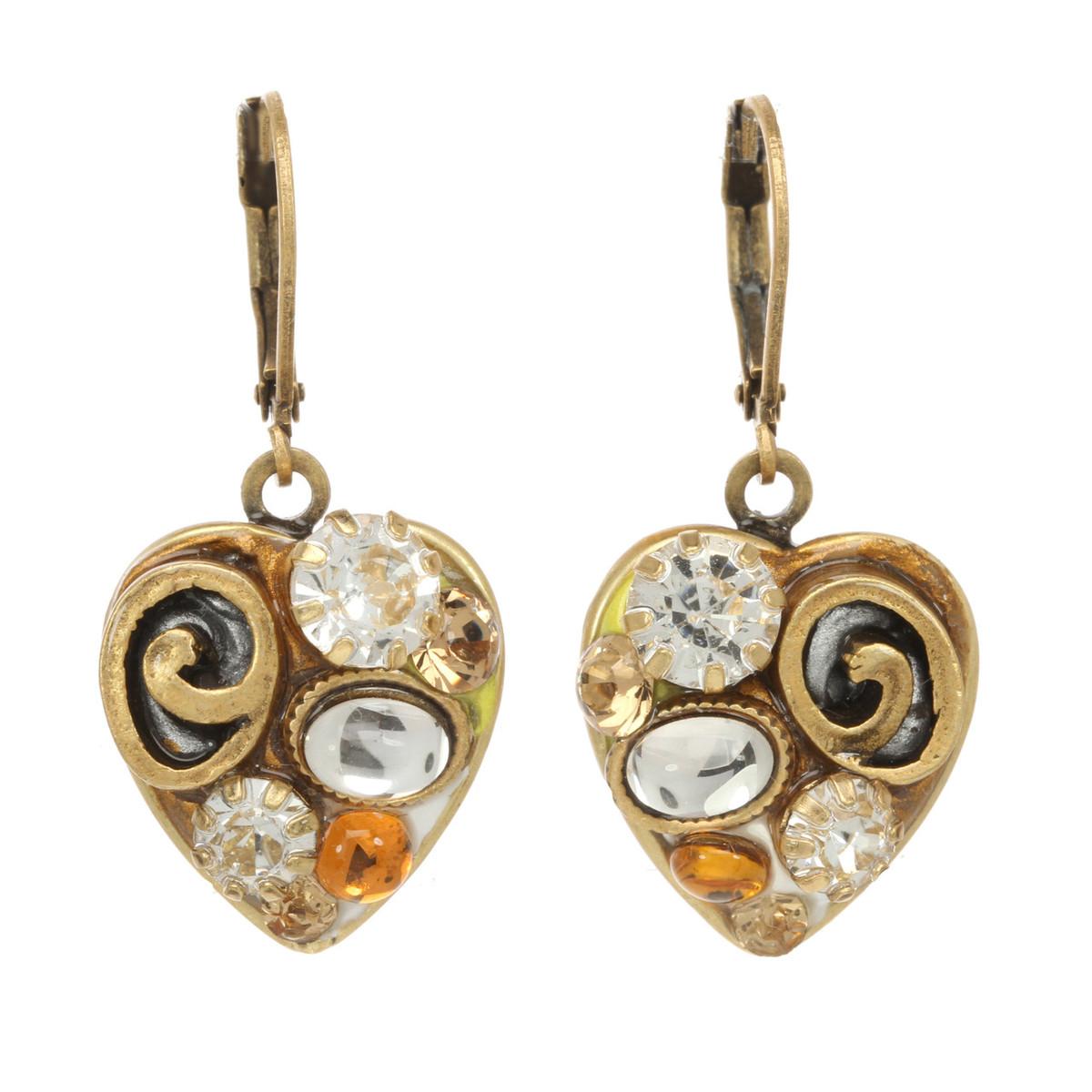 Michal Golan Jewelry Small Heart Leverback Orange Earrings