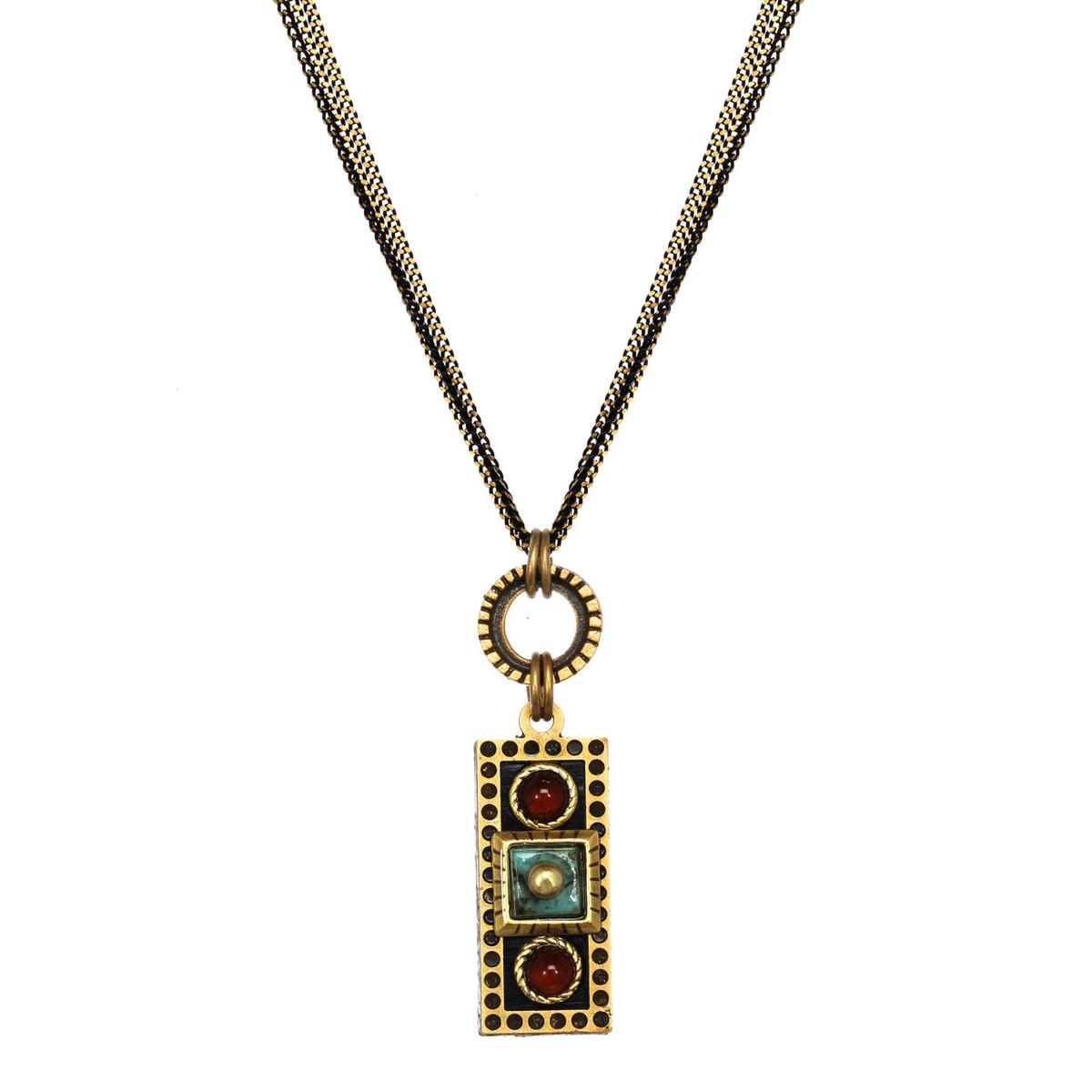 Michal Golan Earth Teal Long Bar Pendant Necklace