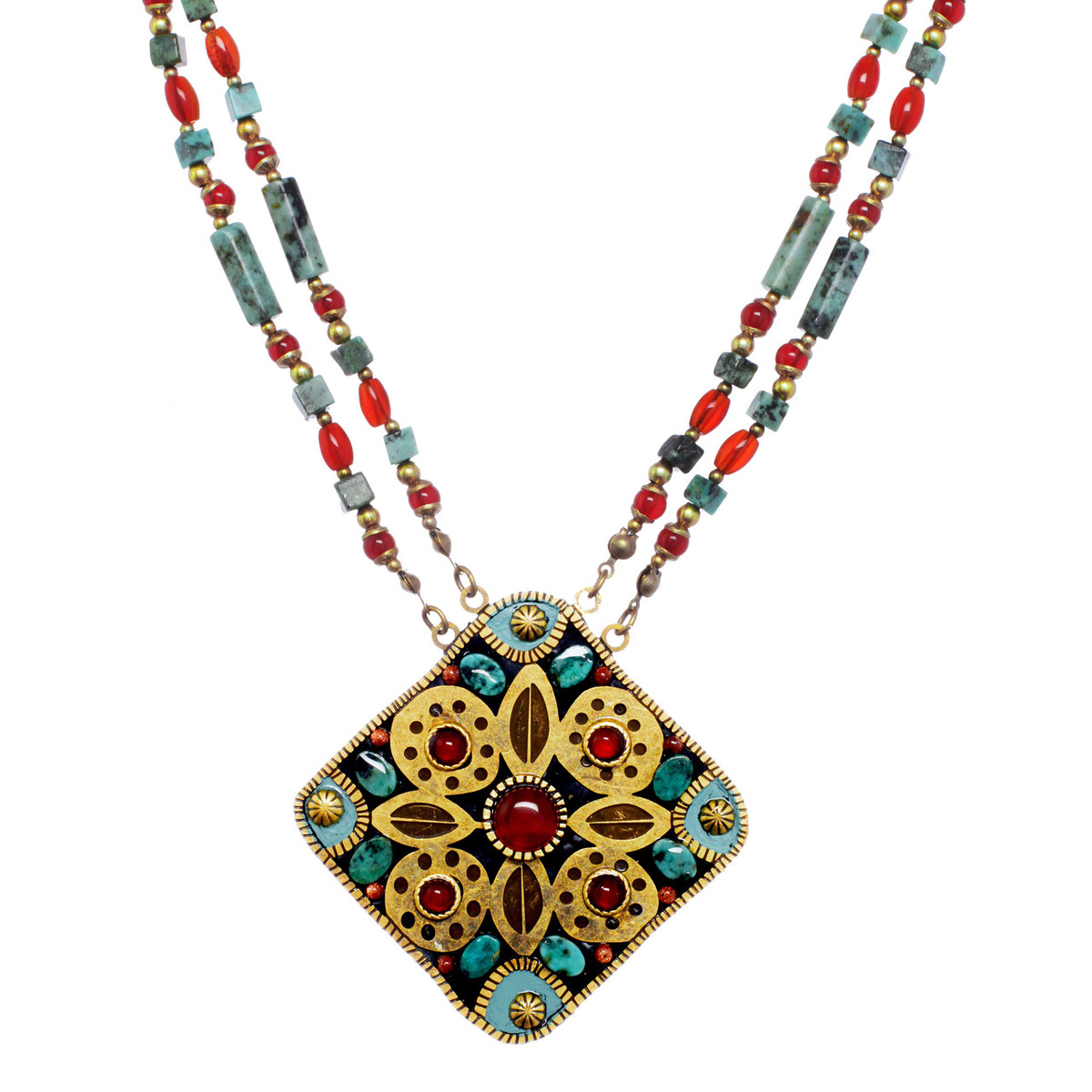 Michal Golan Jewelry Large Square Teal Necklace
