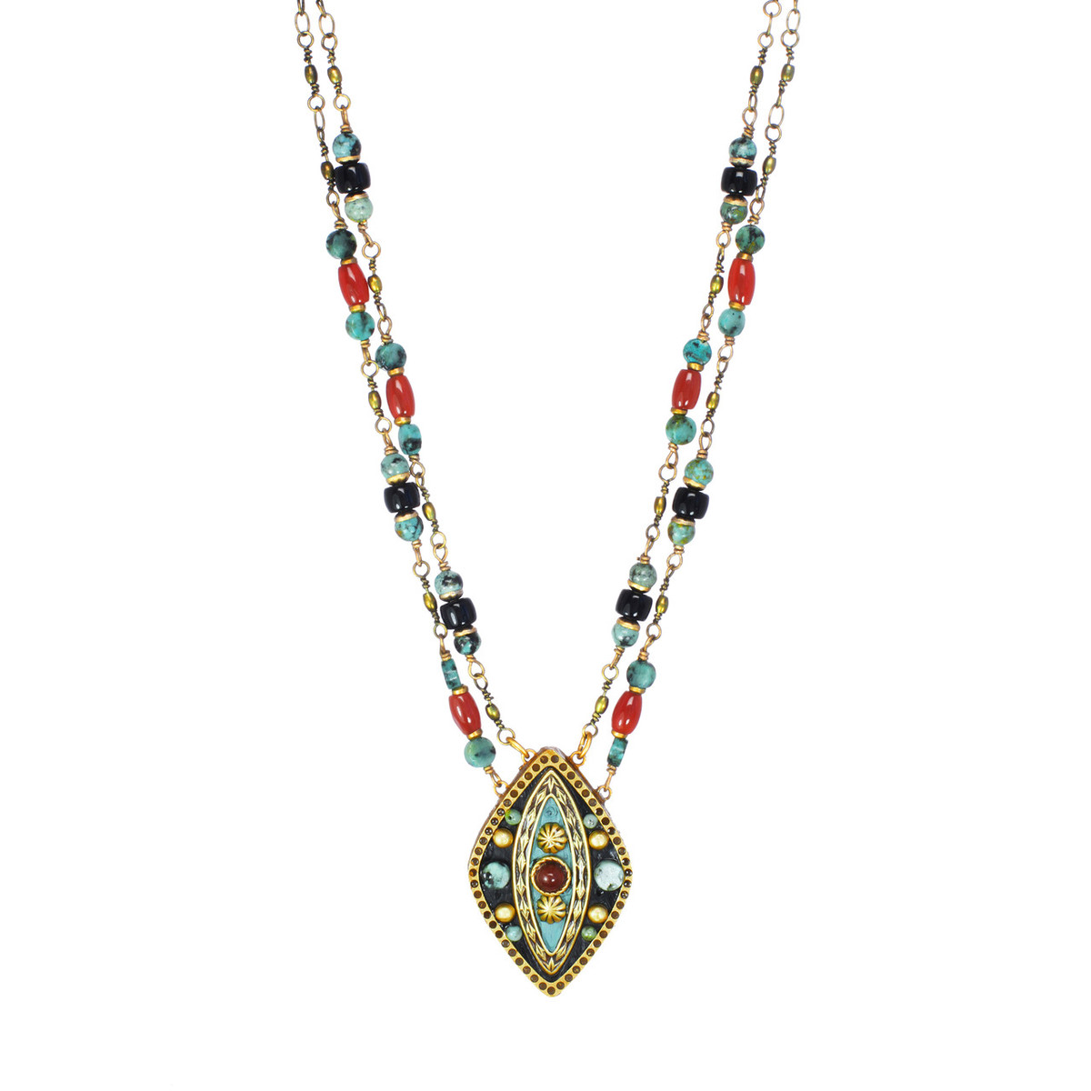 Michal Golan Jewelry Large Diamond Pendant Teal Necklace