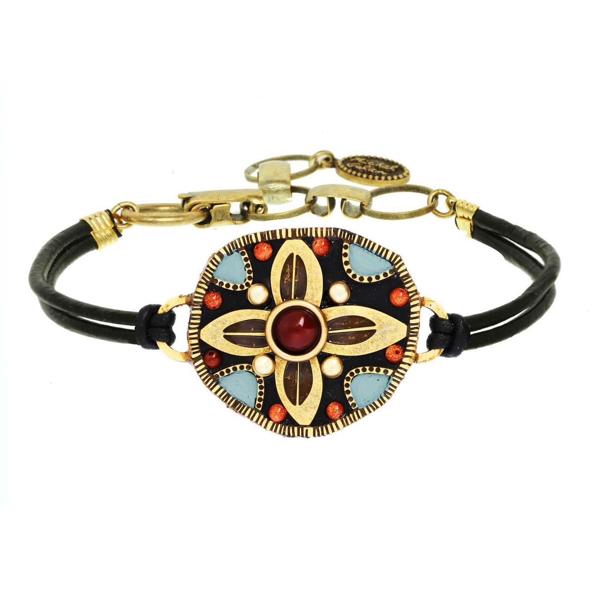 Michal Golan Jewelry Circle Leaves Pendant Teal Bracelet