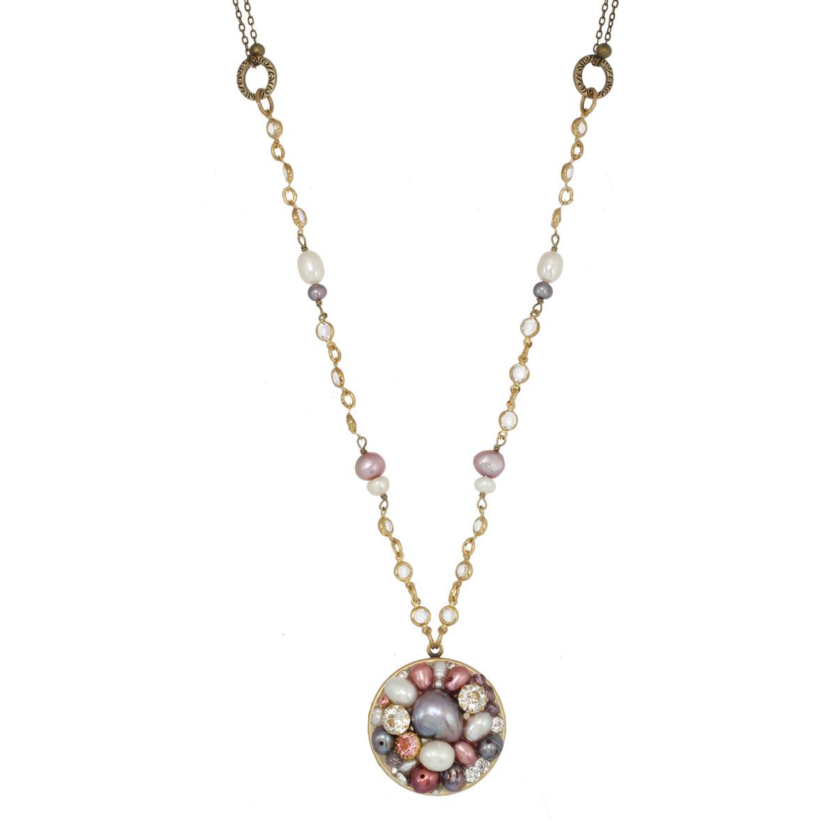 Michal Golan Jewelry Medium Round Pink Necklace