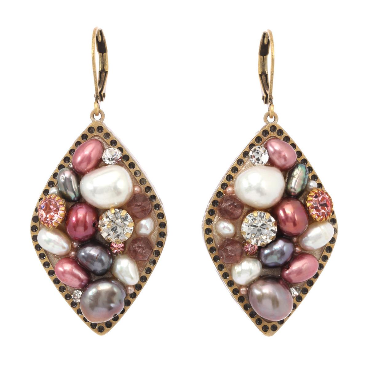 Michal Golan Constellation Pink Medium Diamond Pendant Earrings